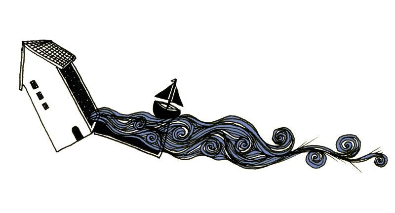 House #illustration print, ocean and sailboat streaming out of the Opening Doors