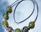 Monet's Waterlilies Lampwork Glass Bead Necklace SRA