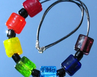 Over The Rainbow Lampwork Glass Bead Necklace SRA