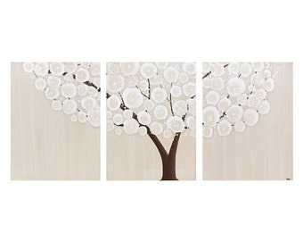 Original Canvas Art Tree Painting - Brown Wall Decor Triptych - Medium 35x14