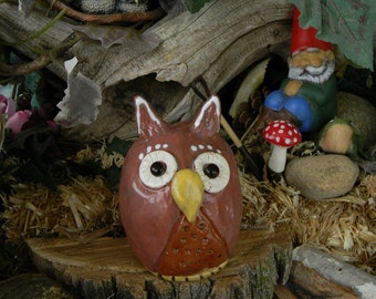 Ceramic Owl Brown clay hand made hooter - yard and garden safe