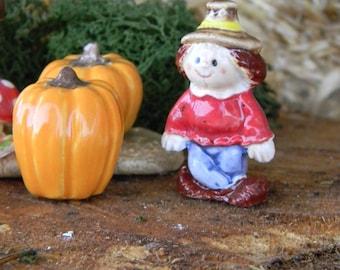 Scarecrow  terrarium miniature glazed ceramic  1.5 Inches tall
