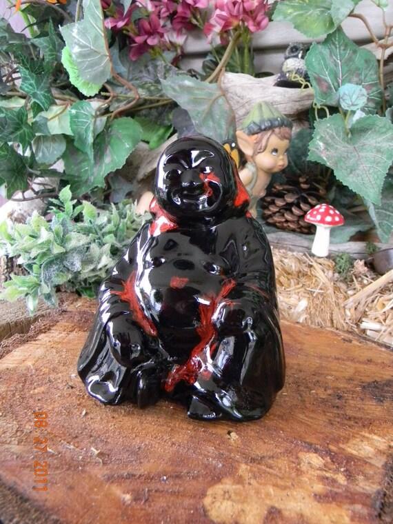 Black Lava  Buddha  Garden Statue - hand Painted Ceramic - Glazed Buddah budda Hoi Toi Zen art
