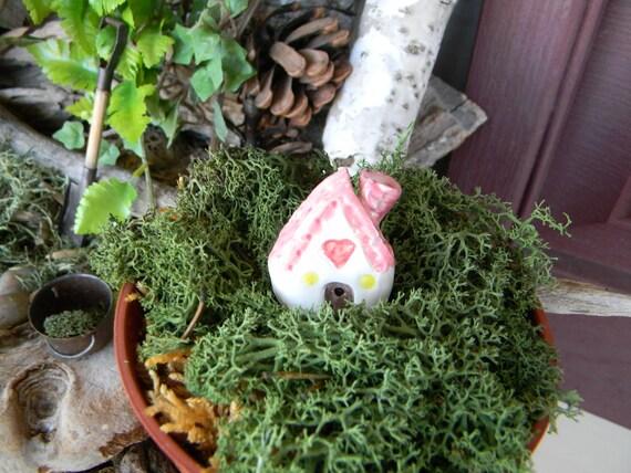 Clay House Pink  Roof terrarium  Ceramic glazed  Clay   House Miniature