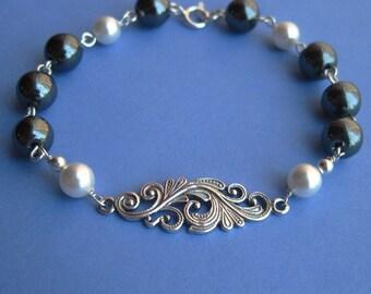 Sterling Silver Filigree Link Bracelet with Hematite and Swarovski Pearl Beads