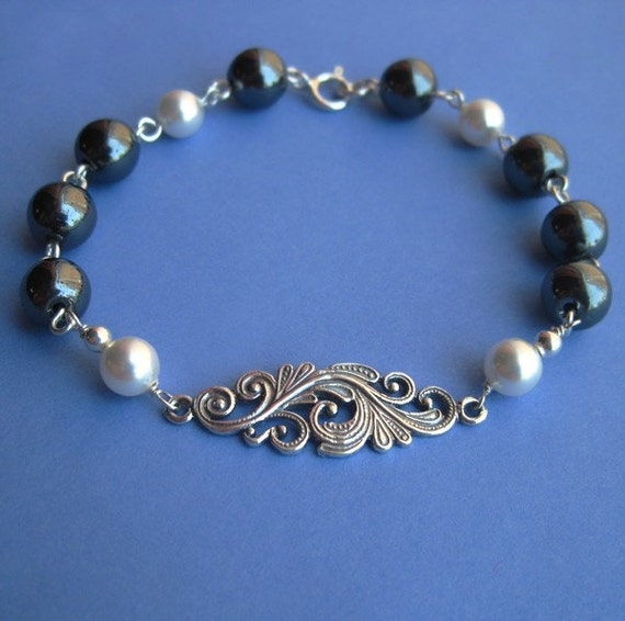 Sterling Silver Filigree Link Bracelet with Hematite and Swarovski Pearl Beads