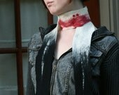 Bloody Vampire Bite - A Soft, Handmade Wool Scarf - Inspired by Vampire Folklore and The TV Series True Blood - RESERVED