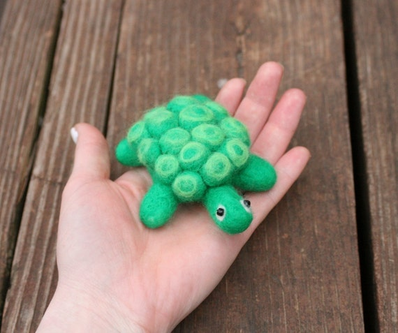 Needle Felted Turtle Figure / Pincushion - Handmade 100% Wool and Glass Bead Eyes - READY TO SHIP