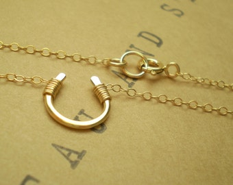 Tiny Luck Necklace , Tiny Horseshoe Necklace, Luck, Horseshoe