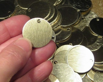 "10+ Brushed Gold Stamping Blanks, 1"" Anodized Aluminum Discs, 20 Gauge (0.8mm), Vertical Grained Light Gold Disks"