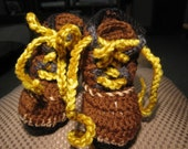 Hand Crocheted Baby Logger Work Boot-Booties in Brown Tan