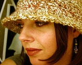 Overstock Sale 30% Off - Convertible Cloche Hat - Marble - Ivory Gold Orange Heather