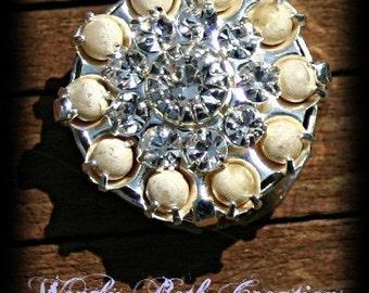 Rhinestone and Pearl Vintage Button Mermaid TrinketsTribal Belly Dance Bindi