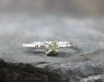 Rough Diamond Ring - Diamond in the Raw - Conflict Free - Sterling Silver- Engagement Ring - Raw Gemstone - April Birthstone - Stacking Ring