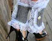 Victorian Style Leg Warmers - Crochet and Lace Spats in Heather Grey - Kawaii Fashion Accessories - Lots of Colors