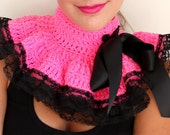 Neck Warmer Ruffle Collar - Hot Pink with Black Lace