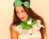 Neck Warmer Ruffle Collar - Spring Green with White Lace - Neo-Victorian