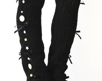 Steampunk Leg Warmers in Black - Over-the-Knee - Many Colors - Neo-Victorian