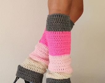 Color Block Leg Warmers - Hot Pink Ivory Grey
