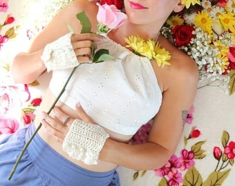Crop Top - Music Festival Halter Top in White or Ivory by Mademoiselle Mermaid