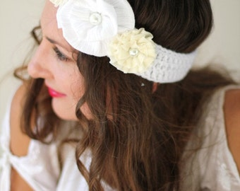 Women's Flower Headband - White and Ivory Hair Band - Bohemain Fashion Floral Headpiece - Hippie Headbands