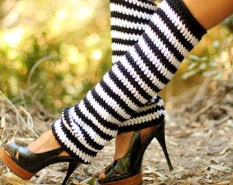 Alice in Wonderland Leg Warmers -  Black White Stripe Leggings - Thigh High