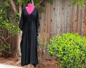 Kaftan Maxi Dress in Black Jersey Knit - Long Kaftan - Lots of Colors