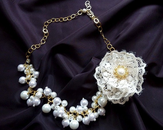 Pearl and Gold Necklace and Dangle Earrings Set