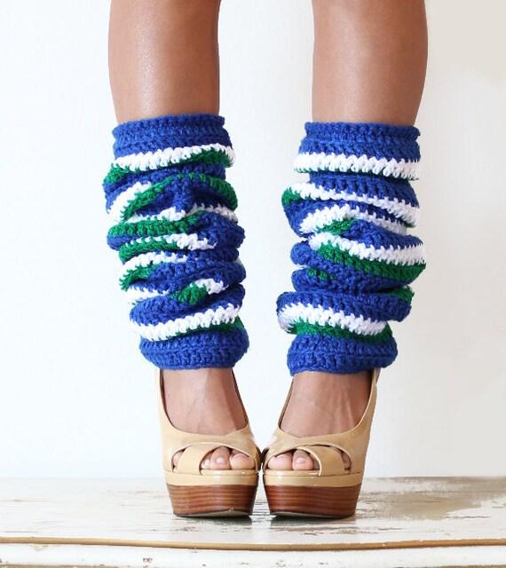 Stripe Leg Warmers - Sports Fan Fashion - Royal Green White