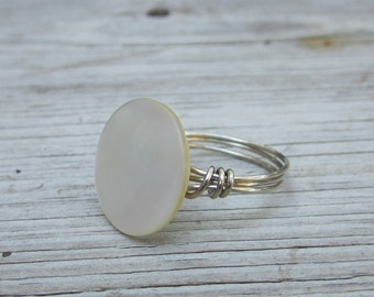 Vintage Mother of Pearl button ring