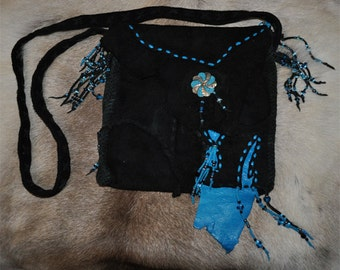 Black / Turquoise Deer Skin Purse with Turquoise & Silver Vintage Closure