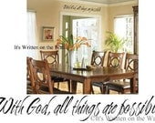 With God All Things are Possible  VINYL Lettering Wall Saying Quote