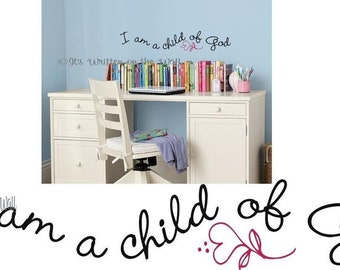 I am a Child of God / Kids Vinyl Quote / Bedroom Quote/ LDS / Religious Quote/ Vinyl Lettering Wall Saying Vinyl Wall Quote