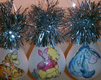 Winnie & friends trio handmade light bulb ornament set