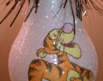 Tigger handmade light bulb ornament