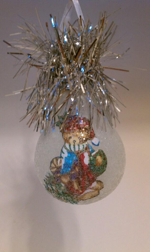 Victorian Teddy Bear keepsake light bulb ornament