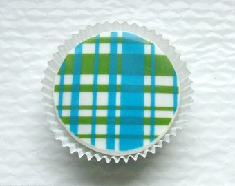 1 Dozen Designer Chocolate Covered Oreos -Light Blue and Lime Green Plaid Design Baby Shower Birthday Party