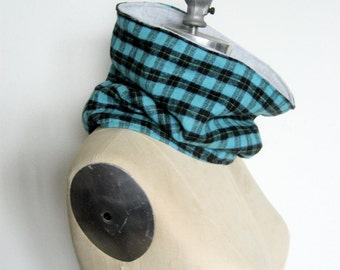 The Cowl Scarf, Neck warmer in Turquoise Plaid Flannel, Ready to Ship