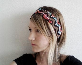 Turban Headband, Turquoise and Red Chevron Stripe, Yoga Headband, Upcycled Fabric Headband