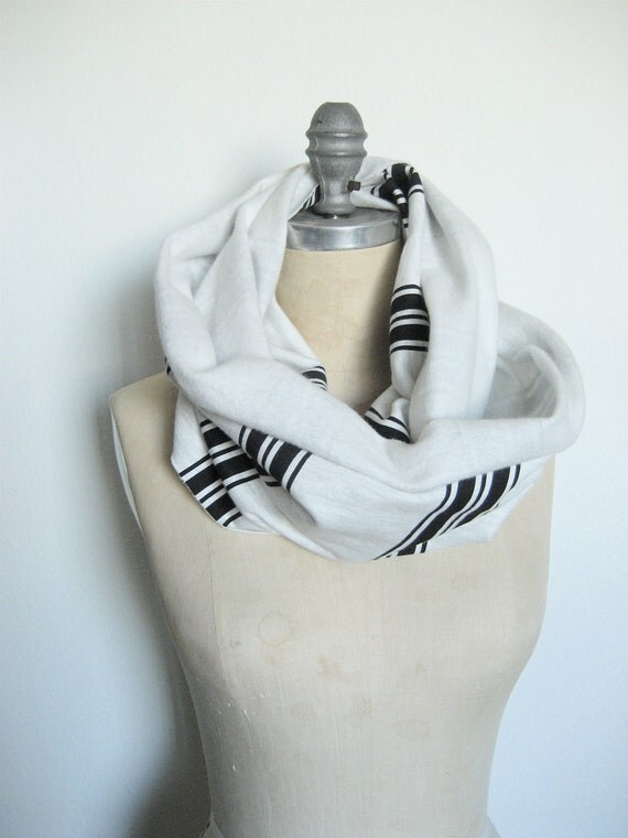 The Infinity Scarf, Light Gray and Black Stripe in Jersey Fleece