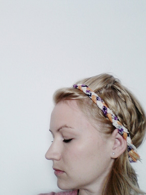 The Braided Headband- In Purple Chevron Print and Peach Lace, bohemian style