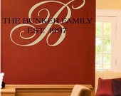 Family Monogram Initial Vinyl Lettering Custom Made With Your Last Name And Year Married