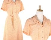 Creamsicle Vintage Dress -  Light Tangerine Belted Dress - size Large