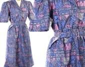 1980s Purple Thai Silk Day Dress - Vivid Vintage Graphic Print Shirt Dress - Ancient City  -  size Medium