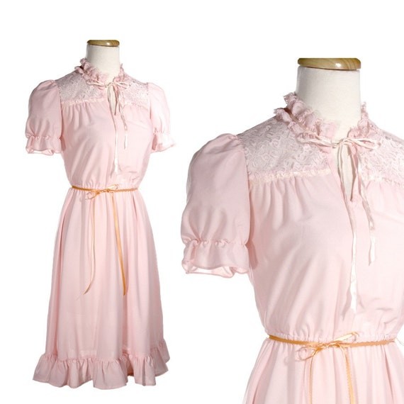1980s Frilly Pink Dress with Lace Yoke Neckline - Sweet Romantic Vintage - size Small
