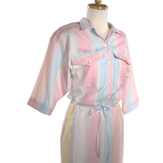 1980s Cotton Candy Shirtwaist Dress - Vintage Pastel Stripe Preppy Day Dress- size Medium