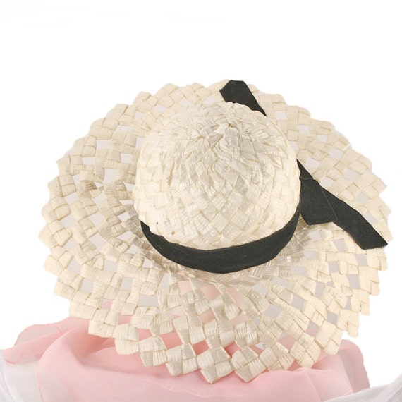 RESERVED for JOANN CHAN - 1950's Wide Brim Straw Sun Hat