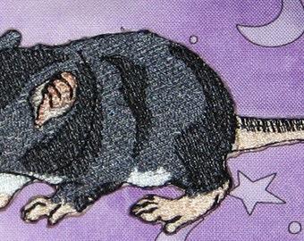 Fancy Black Baby Rat Pup Hopper Self  Rat Steam Punk  Iron on Patch
