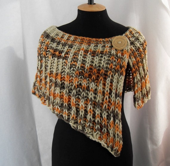 Knitting Pattern Poncho Wrap : Feminine poncho wrap knitted asymmetrical multicolored.