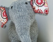 Light Gray Wool Handmade Knit Toy Elephant